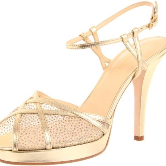 dae494ec712b Kate Spade Rachelle Gold Strappy Glitter Heel